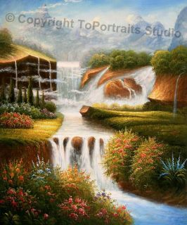 New Zealand Waterfall Original Canvas Oil Painting XL