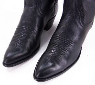 81P Womens Larry Mahan Black Leather Roper Cowgirl Boots Sz 7 5 B