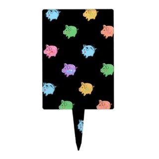 Rainbow Pig Pattern on black Cake Picks
