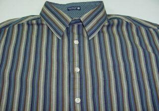 Robert Graham Striped Button Up Shirt Sz Mens L Colorful Cuffs