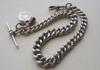 1898   VICTORIAN   LARGE   SOLID SILVER   WATCH CHAIN & FOBS   66.6