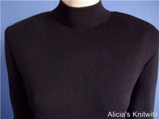 St John Santana Knit Basic Black Long Sleeve Sheath Dress 14 16