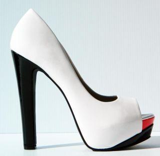 Lasonia Patent Leather Multi Colored Peep Open Toe Pumps High Heels