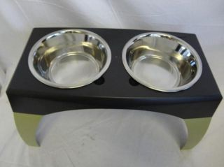 Feeder w 3 Quart Stainless Steel Bowls Extra Large Storm Cloud