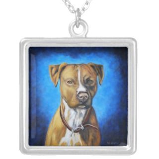Angel American Staffordshire Terrier Dog Art Personalized Necklace