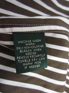 RALPH LAUREN  Brown White Striped French cuff shirt Plus Sz