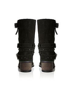 Bertie Rindy Calf High Stud Boots Black