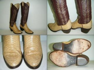 Larry Mahans Reptile Skin Boots Size 5 B US Womens