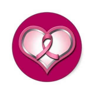 Pink Ribbon Heart Breast Cancer Awareness stickers