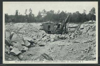 SC Pageland Litho c1920 Steam Shovel at Lawrence Stone