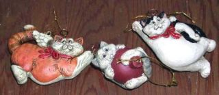 Telle Stein Snow Kitty Cat Angel Ornaments 3 Retired