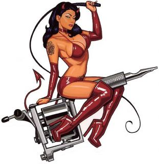 Sexy Bikini Tattoo Gun Devil Girl Sticker Vinyl Decal