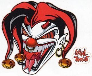 Lethal Threat Evil Joker Jester Red Sticker Decal