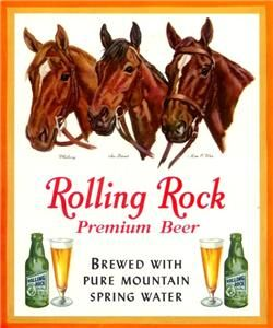Latrobe PA Rolling Rock Beer Menu Cover with Kentucky Derby Horses