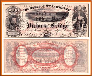 1857 500 Banks of The St Lawrence Victoria Bridge Montreal Advertising