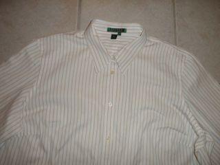 Lauren Ralph Lauren Womens Dress Shirt 2X 32 White Yellow Stripes