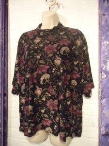 Floral Burnout Stretch Top Blouse Frazier Lawrence Plus Size 2X