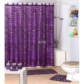 Shower Curtain Animal Safari Purple Zebra Design with Hooks Kids