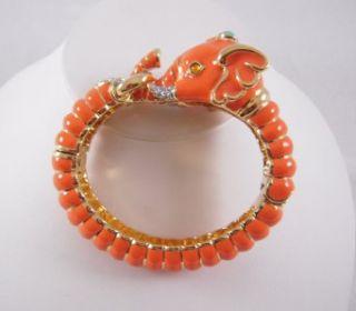 Kenneth Jay Lane Gold Coral Enamel Ribbed Elephant Bangle