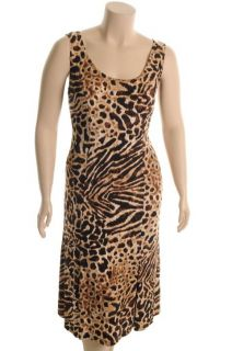 Le BOS New Brown Animal Print Matte Jersey Sleeveless Maxi Dress 14W