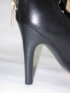 228 NIB COACH BLACK ANN PEBBLE GRAIN LEA LEATHER HEELS WOMENS SHOES 7