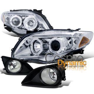 09 10 Toyota Corolla Chrome LED Halo Projector Headlights Clear Lens