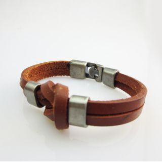 Cool Men Hand Woven Leather Bracelet Circle Fashion Jewelry Punk Style