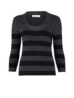 Precis Petite Charcoal stripe jumper Multi Coloured