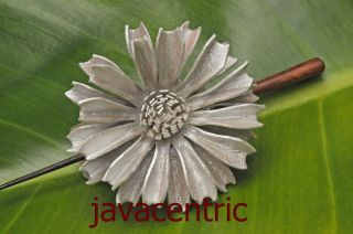 Handmade leather FLOWER Hair Pin Barrette Clip Clasp Slide painted new