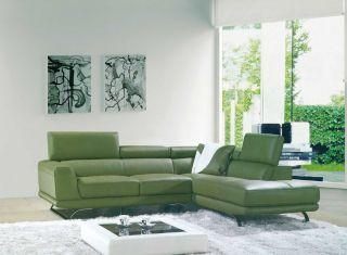 Vig Furniture 8012 Green Bonded Leather Sectional Sofa