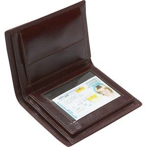 LEATHERBAY DOUBLE FOLD MENS LEATHER WALLET w/ DETACHABLE ID WINDOW