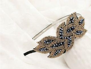 Random Korean Fashion Crystal Bead Leaves Pattern Hair Hoop Hair