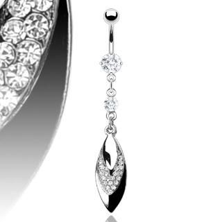 LEAF GEMS BELLY NAVEL RING PRONG CZ DANGLE BUTTON PIERCING JEWELRY B86