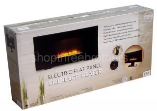 Electric Flat Panel Wall Mount Fireplace Heater Free Stand LED Flame