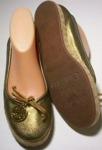 Juicy Couture Leah Gold Metallic Leather Ballet Flats Size 7 1 2