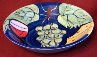 Blue Hand Painted Bowl Grapes Wine Glass Cheese Decor