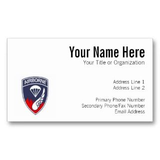 187th Airborne Patch Business Card