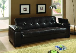 Dark Brown Faux Leather Tufted Storage Sofa Bed Couch