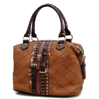 Nicole Lee USA Multi Belt Design Satchel Bag Handbag Purse Women Brown