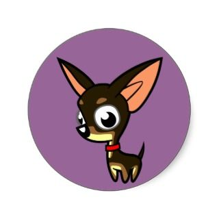 Cartoon Chihuahua (black & tan) Stickers