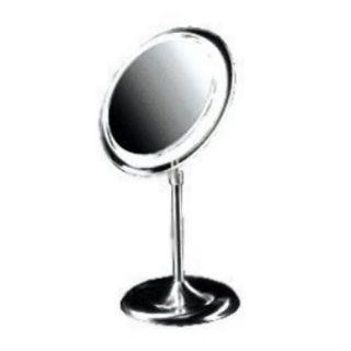 Satin Nickel Pedestal 5X Magnification Adjustable Light Stand Makeup