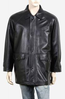 Mens Handmade Lambskin Black Leather Jacket Coat M L XL