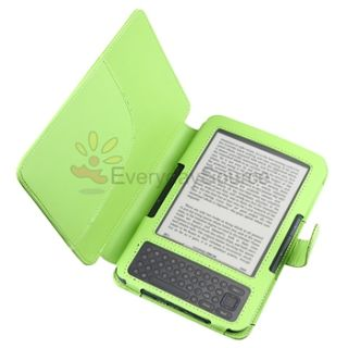 Green Folio Leather Case Skin Cover Pouchfor  Kindle 3 3G