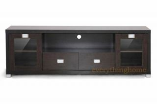Dark Brown Modern Wood Plasma LCD LED HD TV Stand Media Credenza