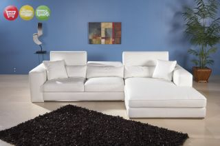Modern White Leather Sectional Sofa Couch Chaise Lounge