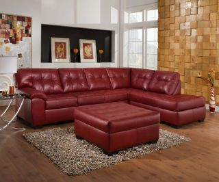 Soho Contemporary Red Bonded Leather Sectional Sofa w Chaise Ottoman