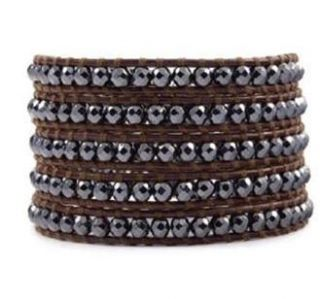 Chan Luu Brown Leather Hematite Crystal Beads Wrap Bracelet