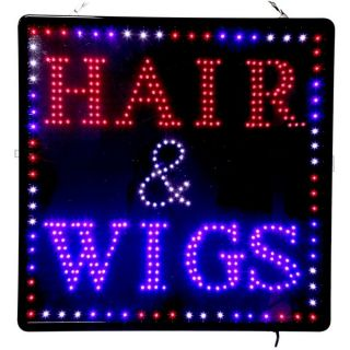 New Large LED Hair Wigs Business Motion Sign 23 5x23 5 U s A Seller