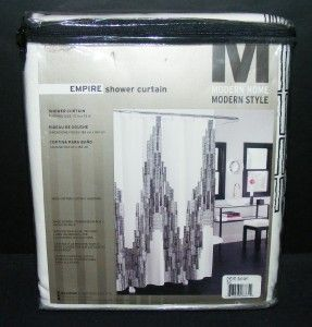Empire Embroidered Fabric Shower Curtain Black White State Building