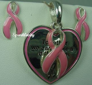 Breast Cancer Ribbon Pendant Slide Earring Free Bracelet